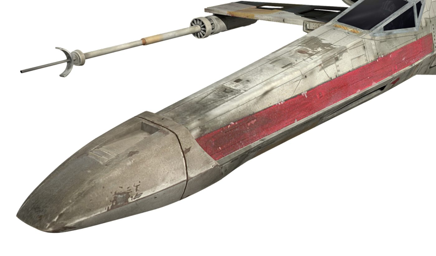 Close up shot of the front of an X-Wing fighter