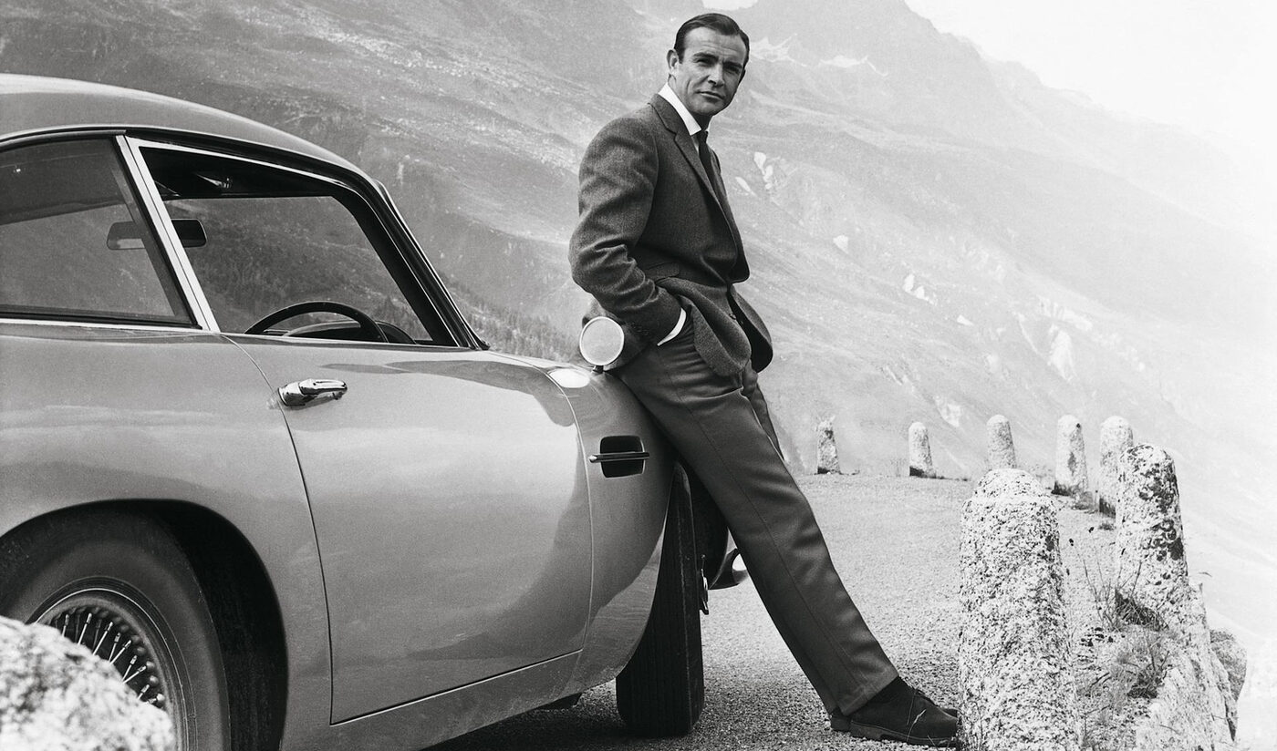 Daniel Craig looking menacing in a tuxedo.