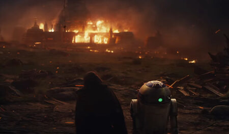 Luke and R2-D2 watch the Jedi temple burn